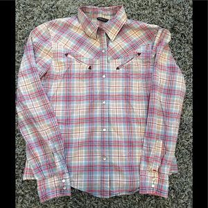 American Eagle button up plaid long sleeve shirt